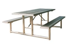 Galvanized Frame Picnic Table, Recycled Plastic, 6 Ft, Cedar, Ada